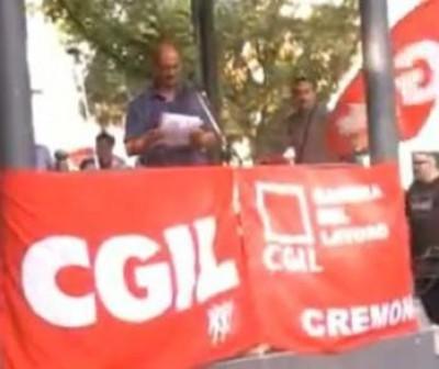 Rodolfo Bona vicepres. ANPI Cr - Sciopero Generale CGIL 06/09/11