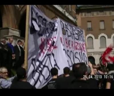 Cremona 25 aprile 2013. Gli autonomi contestano la celebrazione ufficiale (video)