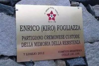 Sul Colle del Lys inaugurata una targa dedicata a Kiro Fogliazza