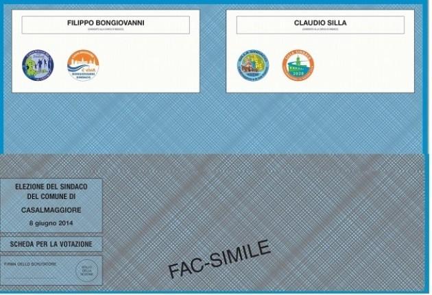 Casalmaggiore  Silla- Bongiovanni al ballottaggio il fax simile  della scheda
