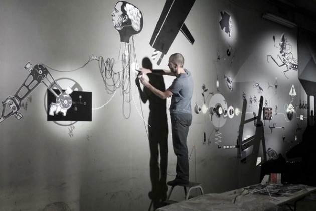 Video sound art The Man into the map a Milano