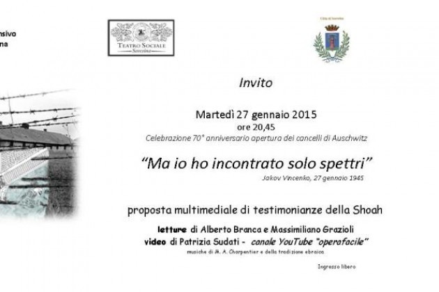 Giornata della Memoria in provincia di Cremona, spettacolo a Soresina