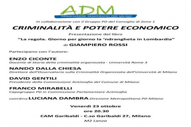 Criminalità e potere economico: incontro a Milano con Dalla Chiesa, Cicone, Mirabelli, Gentili e Rossi