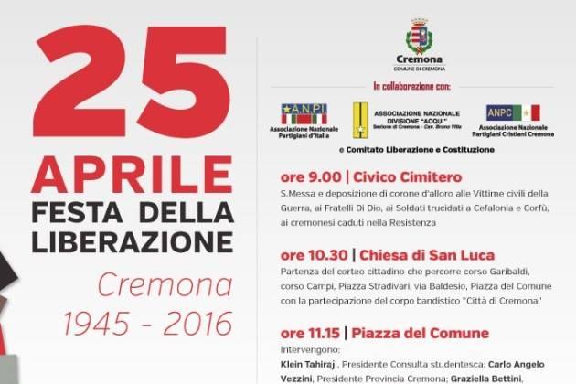 Cremona, il programma del 25 Aprile 2016, 71° anniversario della Liberazione