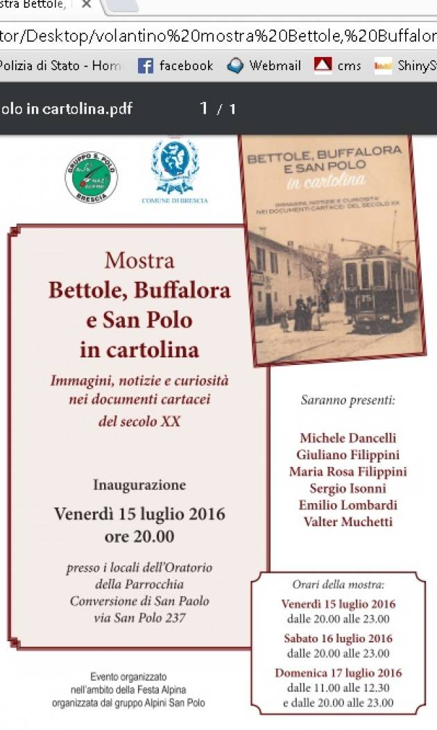 Inaugurazione mostra Bettole, Buffalora e San Polo in cartolina