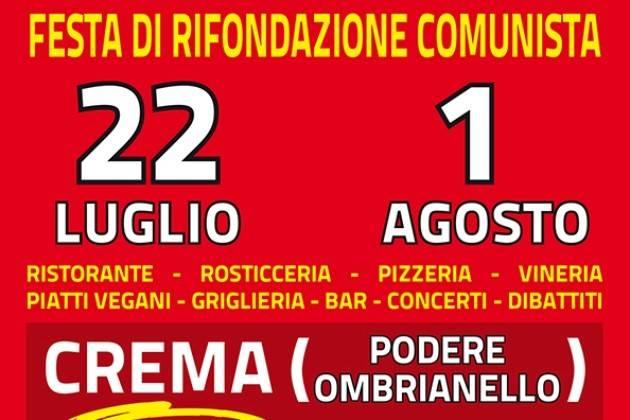 Crema, dal 22 luglio al 1° agosto torna la Festa di Rifondazione Comunista