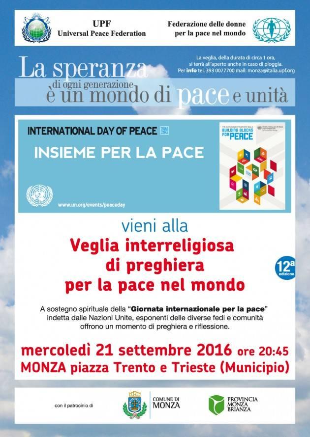 Veglia interreligiosa a Monza per la pace nel mondo