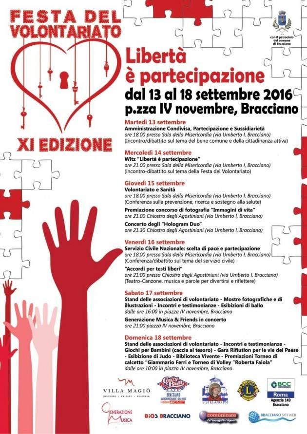 """Al via a Bracciano l'11a edizione della """"Festa del Volontariato"""" tra concerti, dibattiti e spettacoli teatrali"""