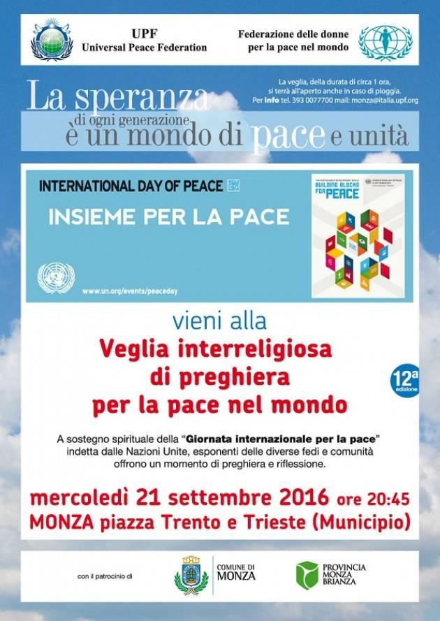 Domani 21 settembre si terrà a Monza la dodicesima edizione della Veglia interreligiosa