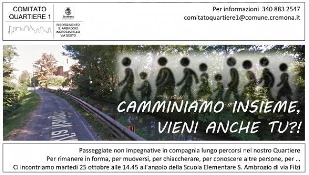 Cremona Riprendono le Camminate di Quartiere organizzate dal Comitato di Q1.