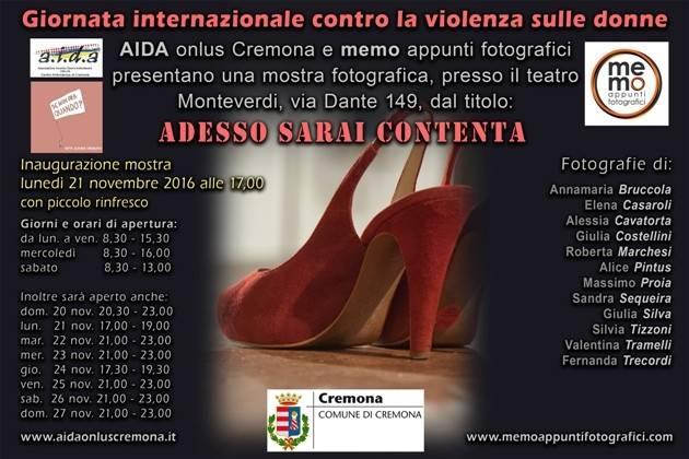 Cremona, Giornata contro la violenza sulle donne: mostra fotografica con AIDA