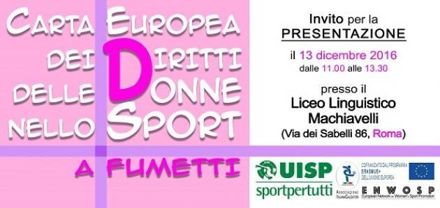Uisp  CARTAFUMETTO Presenta  la versione a strisce della carta dei diritti delle donne nello sport
