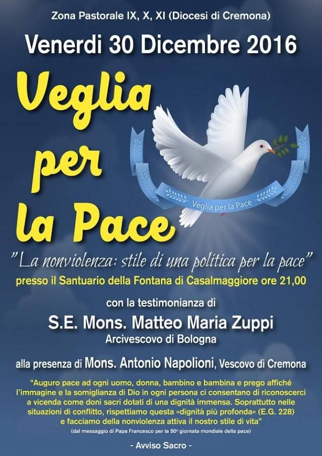 Veglia di Pace stasera(Venerdì 30) a Casalmaggiore con mons. Antonio Napolioni.
