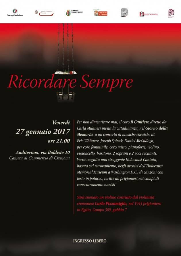 Giorno della Memoria a Cremona  RICORDARE SEMPRE Concerto di musiche ebraiche