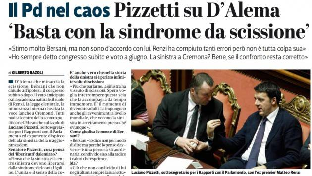 Ritengo che si debba votare a  giugno Intervista a Luciano Pizzetti di Gilberto Bazoli