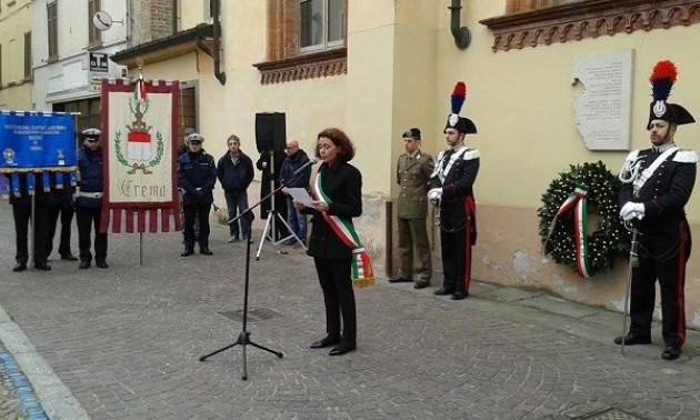 Crema L'intervento di Bonaldi alla cerimonia odierna dedicata al Giorno del Ricordo.