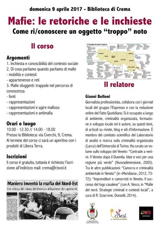 Crema  Il prossimo 9 aprile workshop 'Mafie: le retoriche e le inchieste'