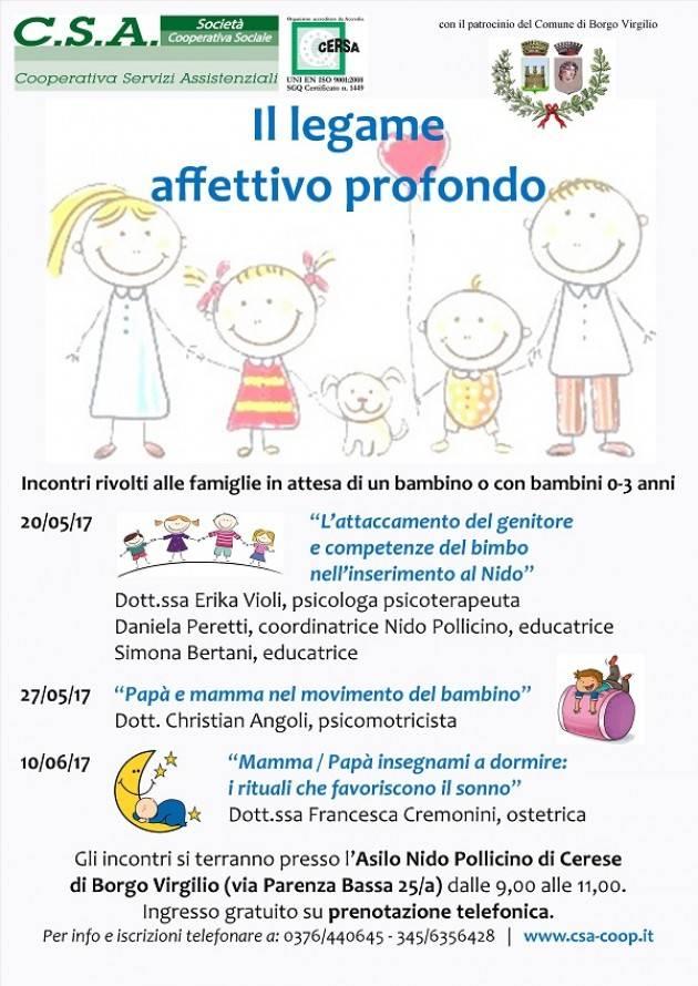 Incontri per neo e futuri genitori al Nido Pollicino di Cerese - Borgo Virgilio (Mantova)