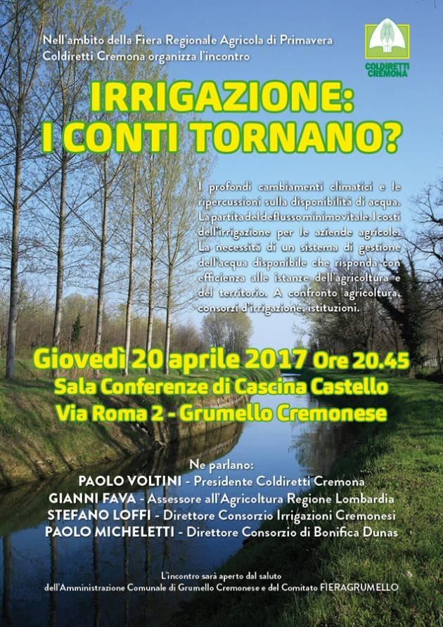 Coldiretti Cremona 'Irrigazione: i conti tornano?' Stasera 20 aprile  incontro a Grumello