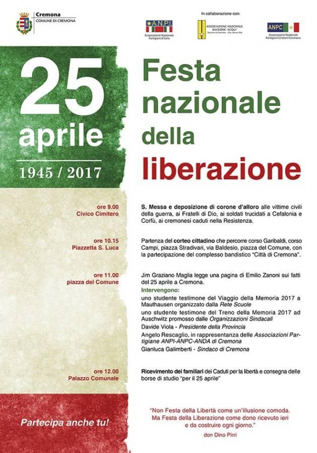 Cremona Programma definitivo del 25 aprile 2017, 72° anniversario della Liberazione