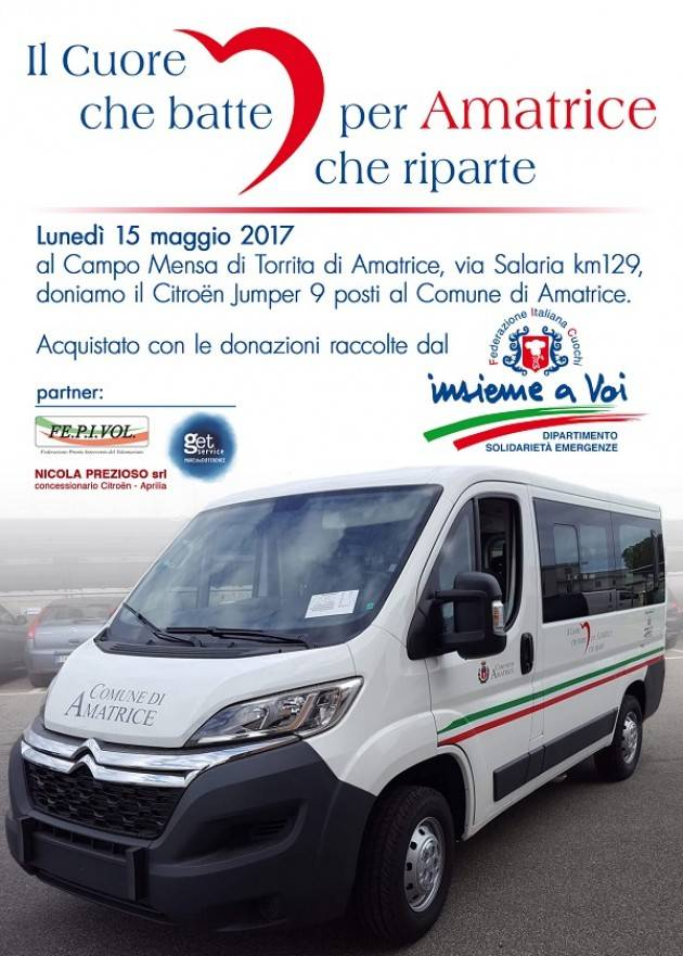 La Federazione Italiana Cuochi dona un Pulmino 9 posti al Comune di Amatrice