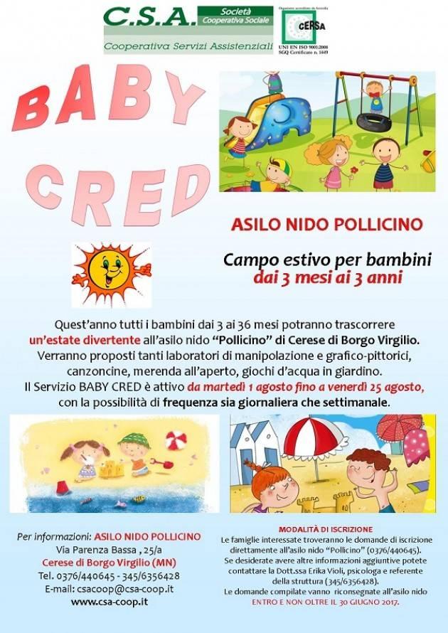 Mantova Arriva il BabyCred:  campi estivi al nido per i piccolissimi 3-36 mesi