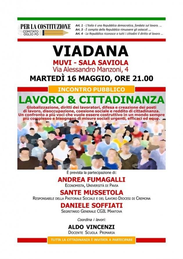 LAVORO & CITTADINANZA. Incontro a Viadana  Martedì 16 maggio, ore 21.00