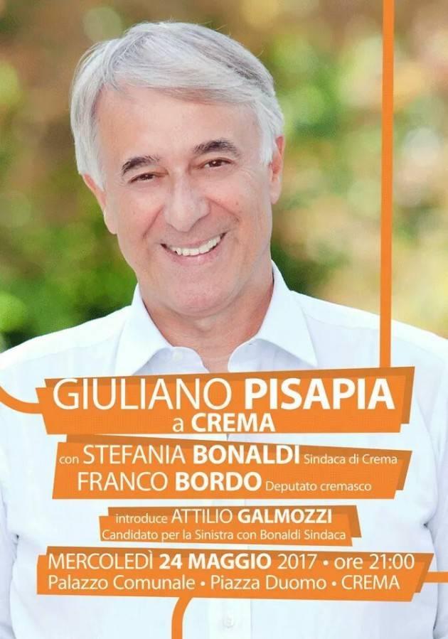 Giuliano Pisapia a Crema il 24 maggio con Stefania Bonaldi, Franco Bordo e Attilio Galmozzi