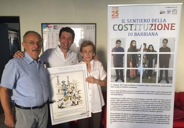 Donata alla città di Cremona la  mostra ' Il Sentiero della Costituzione'