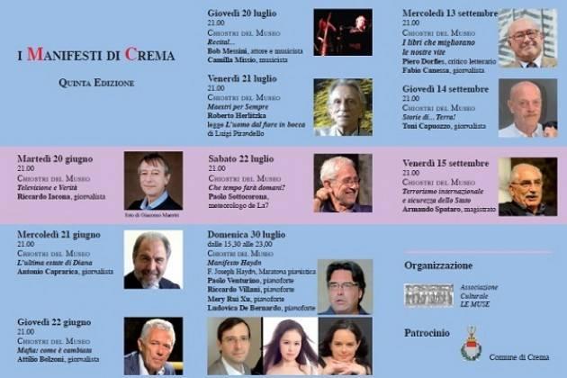 Crema  Rassegna ' I Manifesti' Evento di Domenica 30 luglio con la maratona pianistica