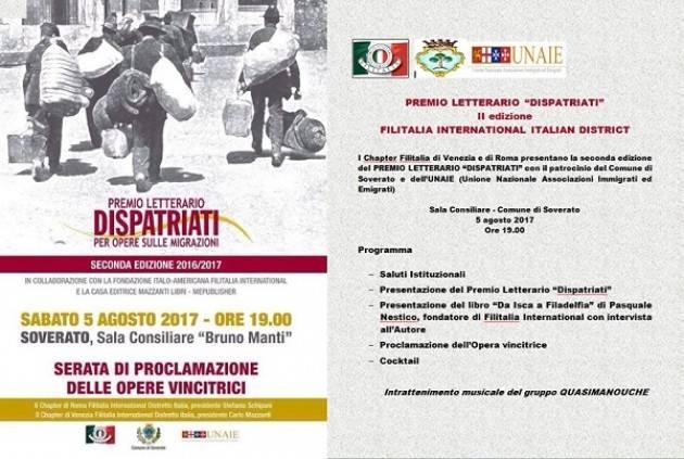 Premio Dispatriati, 2016-17 Un progetto nato dalla collaborazione Filitalia
