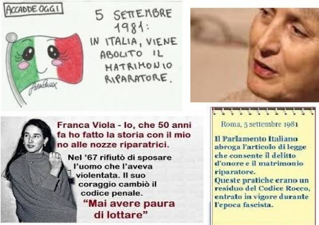 AccaddeOggi  5 settembre 1981 – In Italia viene abolito il matrimonio riparatore, che annullava lo stupro