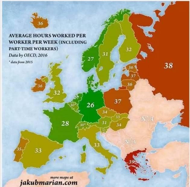 Dove in Europa si passa più tempo al lavoro (mappa). In Italia la media è 33 ore settimanali