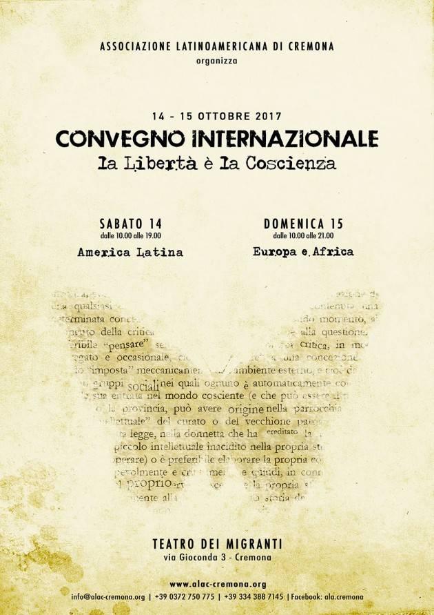 Ala organizza per il 14 e 15 ottobre  a Cremona un Convegno internazionale  su 'La Libertà di Coscienza'
