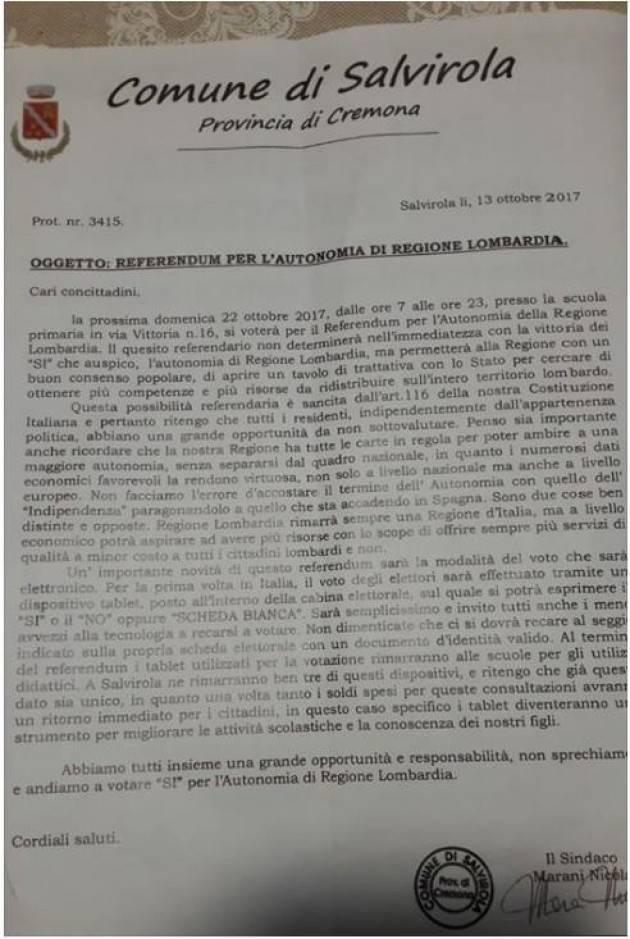Denuncia di Jacopo Bassi Referendum Autonomia Propaganda su carta intestata del  comune di Salvirola