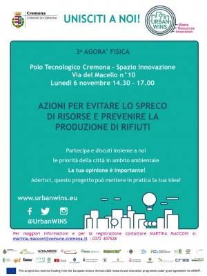 Comune di Cremona - Progetto UrbanWINS - III Agorà - SAVE THE DATE