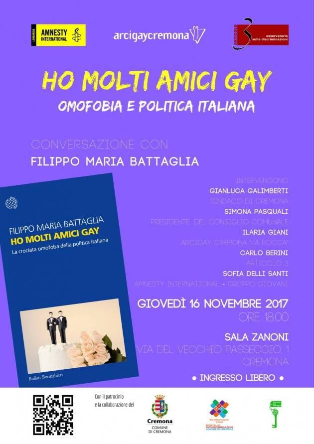 Cremona Presentazione libro 'Ho molti amici gay' Giovedì 16 novembre