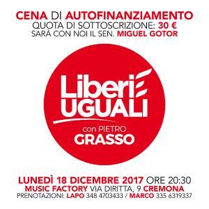A Cremona LIBERI E UGUALI CENA DI AUTOFINANZIAMENTO CON MIGUEL GOTOR
