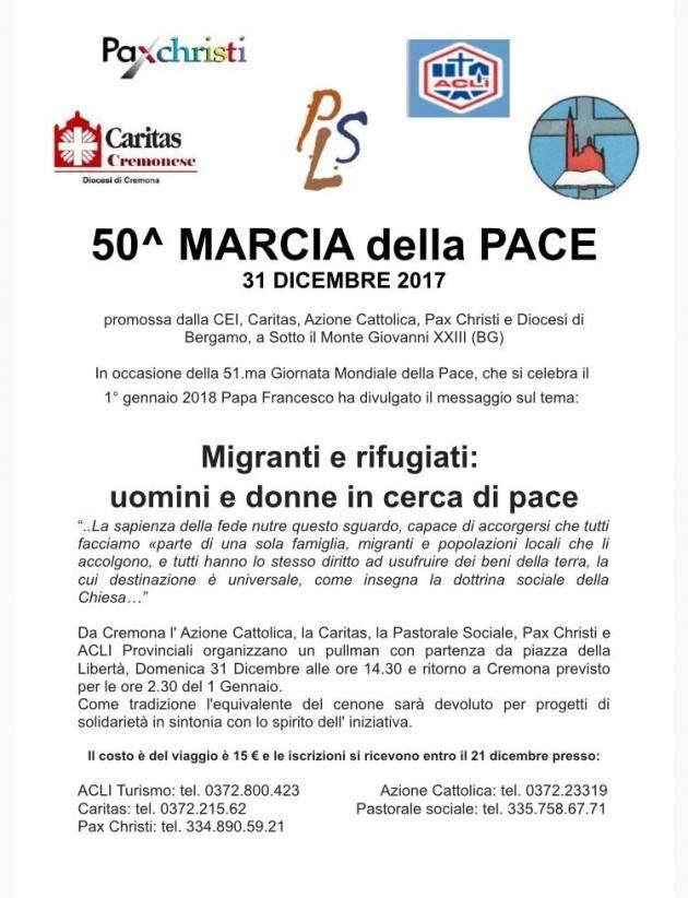Un pullman da Cremona 31 Dicembre 2017 A SOTTO IL MONTE PER LA MARCIA DELLA PACE