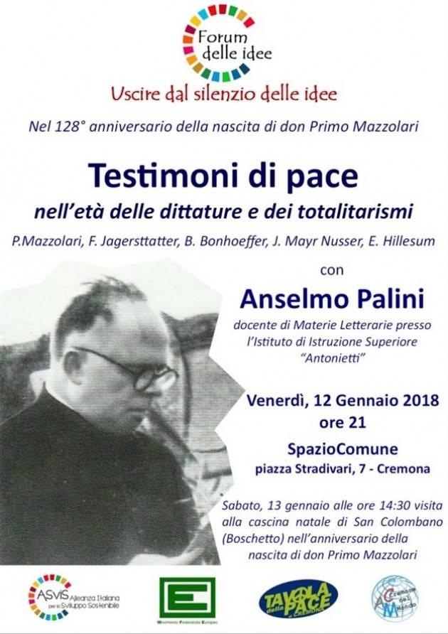 Testimoni di pace: venerdì 12 gennaio ore 21 a SpazioComune, Cremona