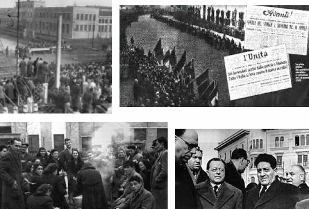 AccaddeOggi 9 gennaio 1950 - Eccidio delle Fonderie Riunite di Modena. Sei operai furono uccisi dalle forze dell'ordine