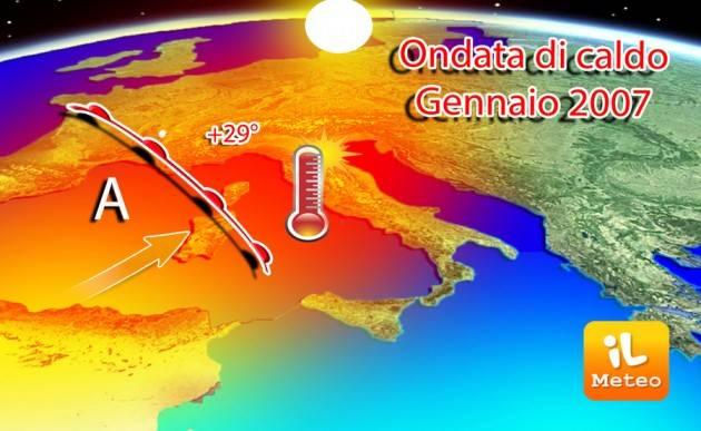 AccaddeOggi  19 gennaio 2007 – Italia: Anomala ondata di caldo su tutto lo stivale e soprattutto nella provincia di Cuneo +29,4 gradi