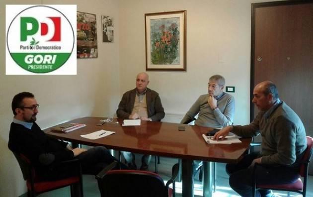 Matteo Piloni (Pd) Incontra  i segretari di Cgil-Cisl -Uil  di Cremona Pedretti, Demaria e Grossi