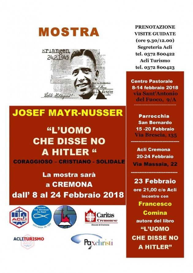 A Cremona  la MOSTRA SU JOSEF NUSSER L'UOMO CHE DISSE NO A HITELR