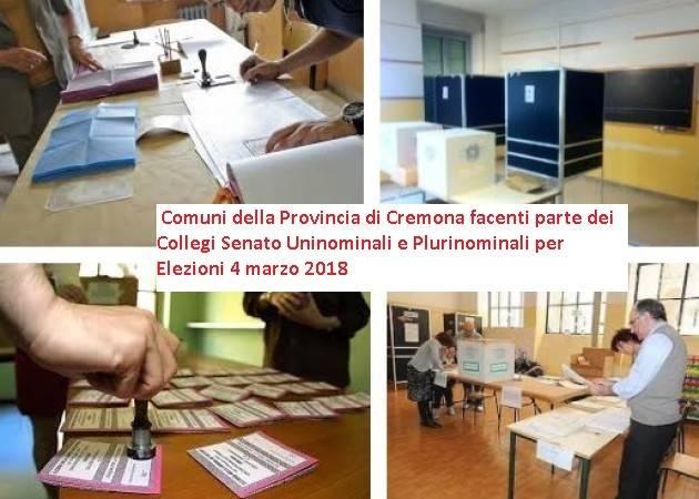 Elezioni 4 marzo Senato : i comuni della provincia di Cremona che fanno parte dei collegi