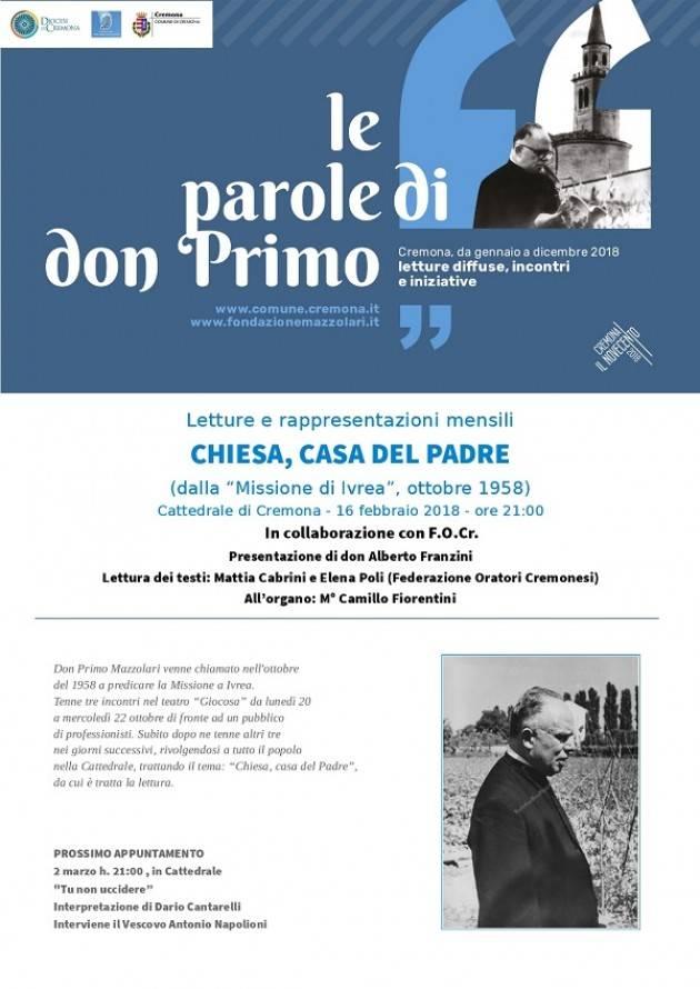 Cremona Le Parole di don Primo, venerdì 16 febbraio la prima lettura