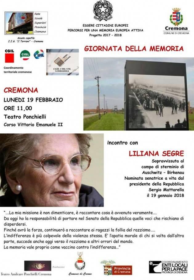 La neo Sen.Liliana Segre a Cremona Lunedì 19 febbraio –ore 11 al Teatro Ponchielli