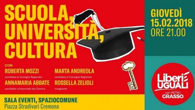 Liberi e Uguali stasera, giovedì 15 febbraio alle ore 21,iniziativa sulla scuola