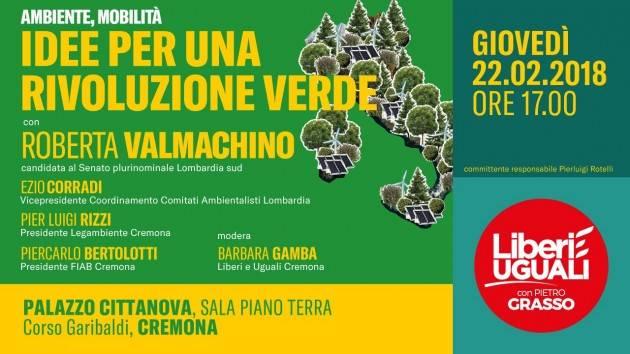 Liberi e Uguali Idee per una rivoluzione verde Iniziativa  il 22/2 a Cremona
