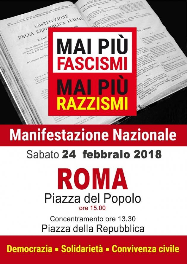 Mai più fascismi, mai più razzismi: Cgil, il 24 febbraio in piazza a Roma